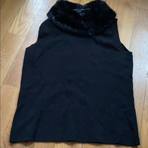 Vintage Faux fur collar tank top going out club